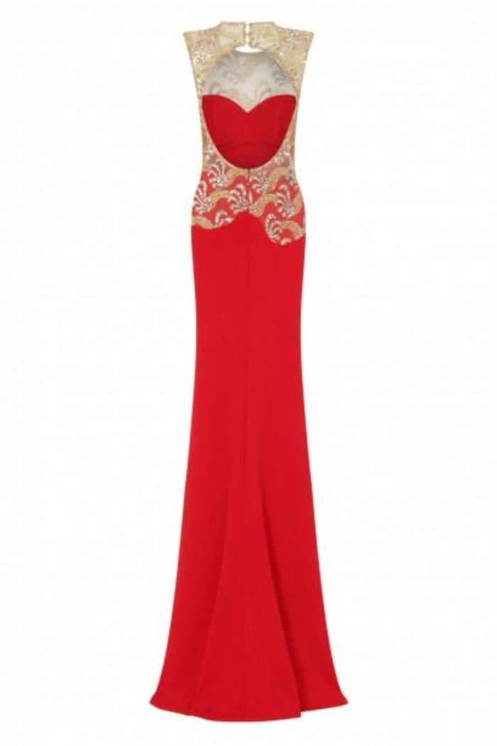 Divinity Sparkle Red Slinky Backless Fishtail Maxi Dress