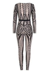 Tease Me Vip Black Nude Plunge Illusion Sequin Embellished Jumpsuit