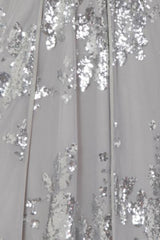Clara Silver Plunge Long Sleeve Floral Sequin Double Slit Dress