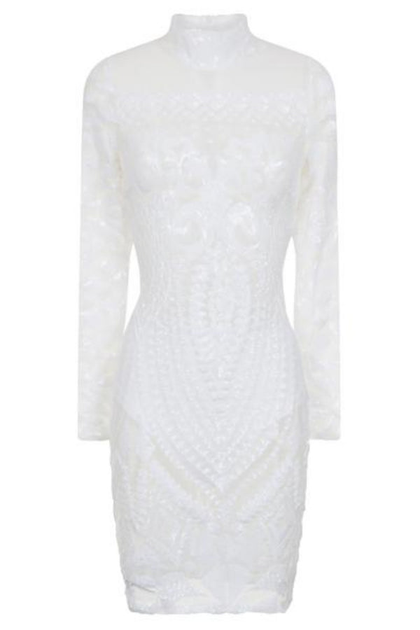 Mimi Pearl White Luxe Sequin Embellished Transparent Midi Dress