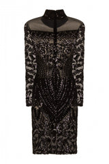 Mimi Black Luxe Sequin Embellished Transparent Midi Dress