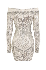 Iliana Silver Luxe Sequin Embellished Off The Shoulder Dress