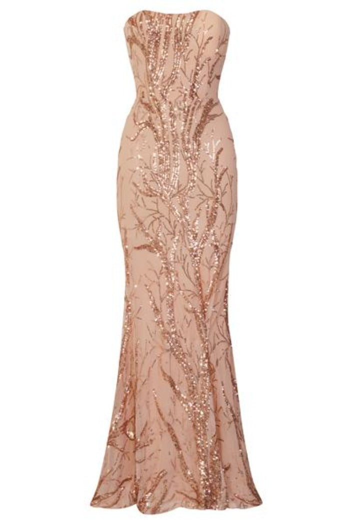Harmony Luxe Tree Rose Gold Sequin Leaf Mermaid Fishtail Dress