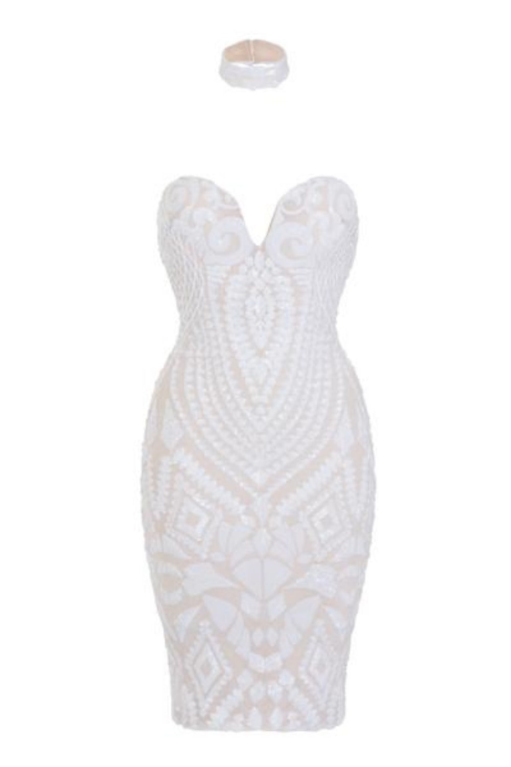 Aphrodite White Luxe Sweetheart Plunge Sequin Embellished Midi Dress