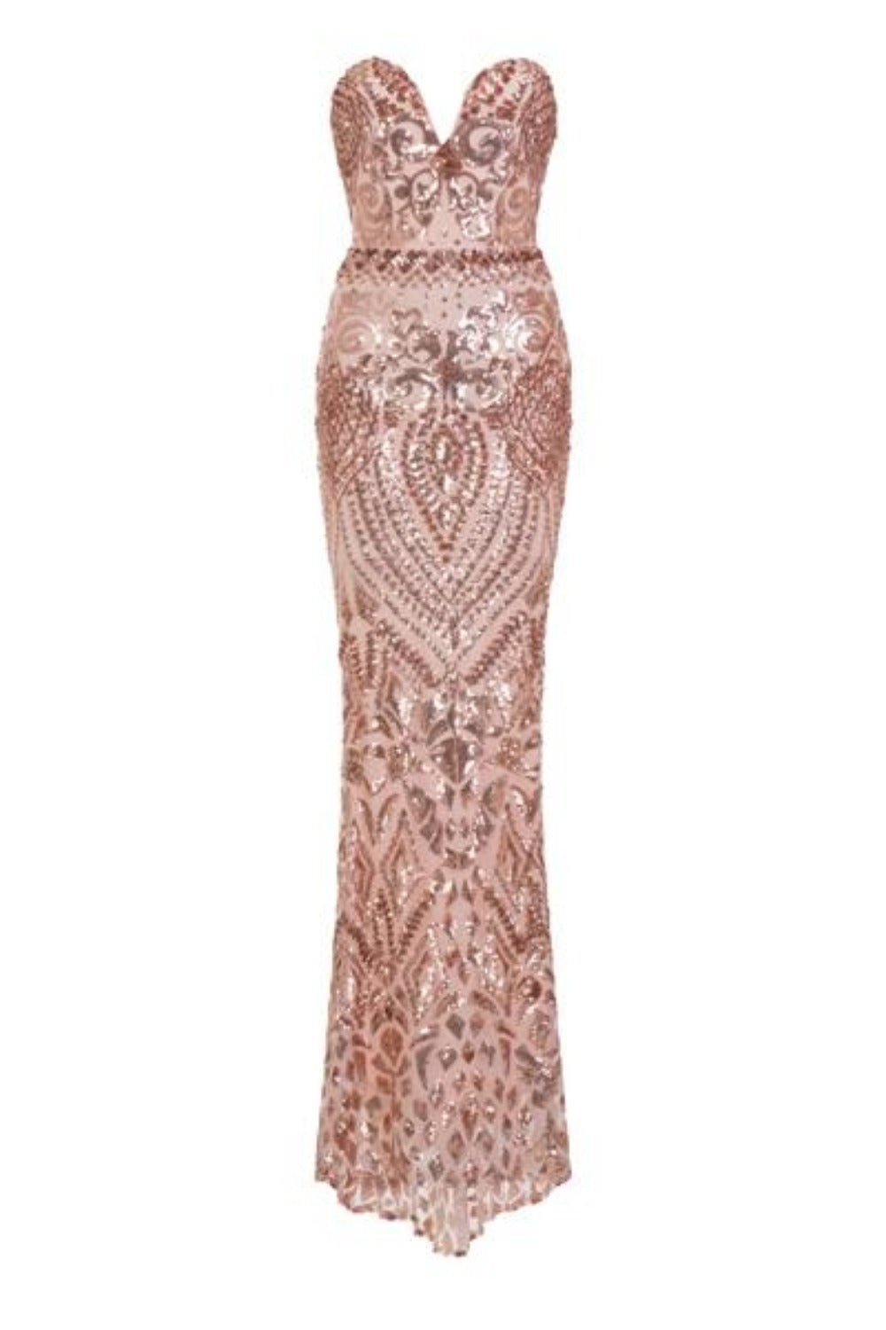 Kenza Gold Luxe Sweetheart Plunge Sequin Embellished Fishtail Dress