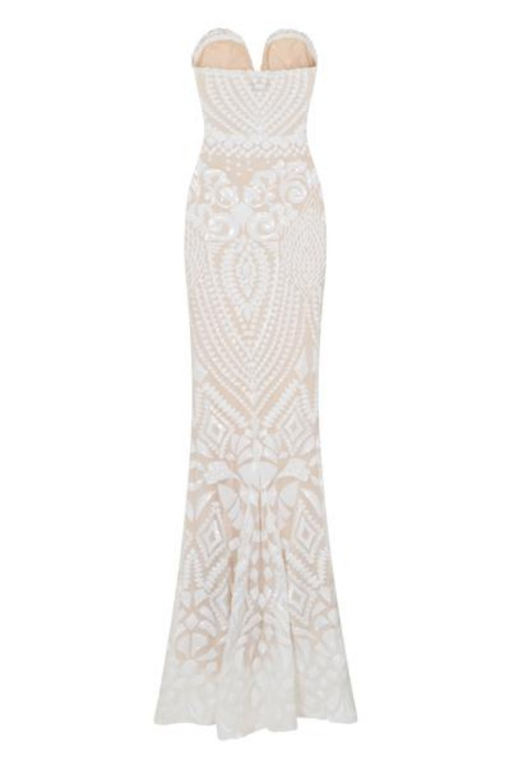 Kenza White Luxe Sweetheart Plunge Sequin Embellished Fishtail Dress