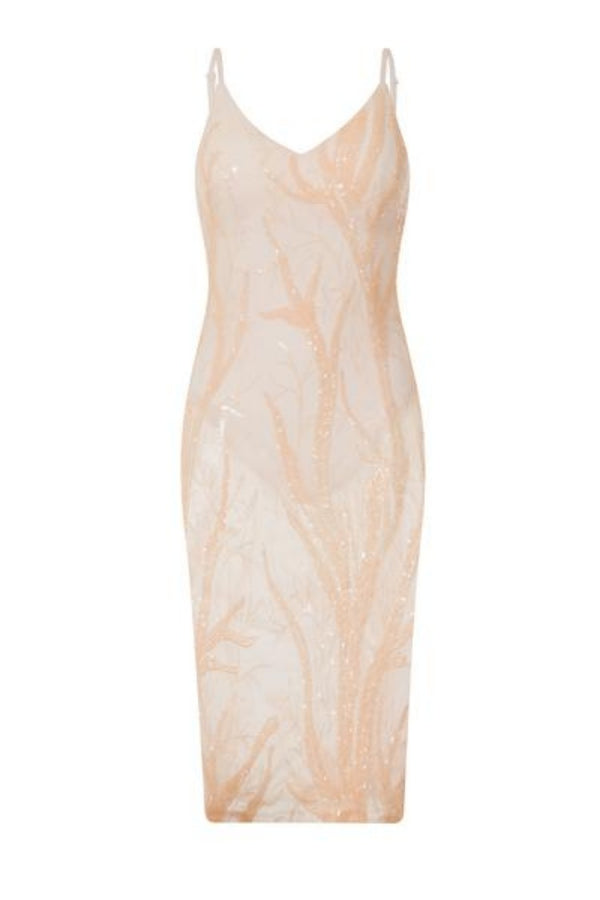 Candice Luxe Tree Peach Nude Sequin Leaf Sheer Bodysuit Midi Dress