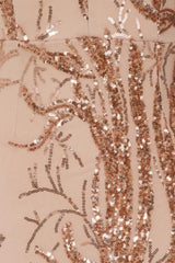 Cavalli Luxe Tree Rose Gold Plunge Leaf Embellished Sequin Dress