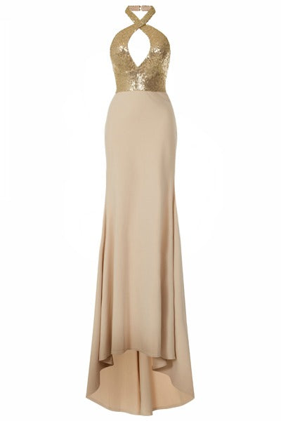 Desire Golden Sequin Keyhole Bust Nude Slinky Fishtail Maxi Dress
