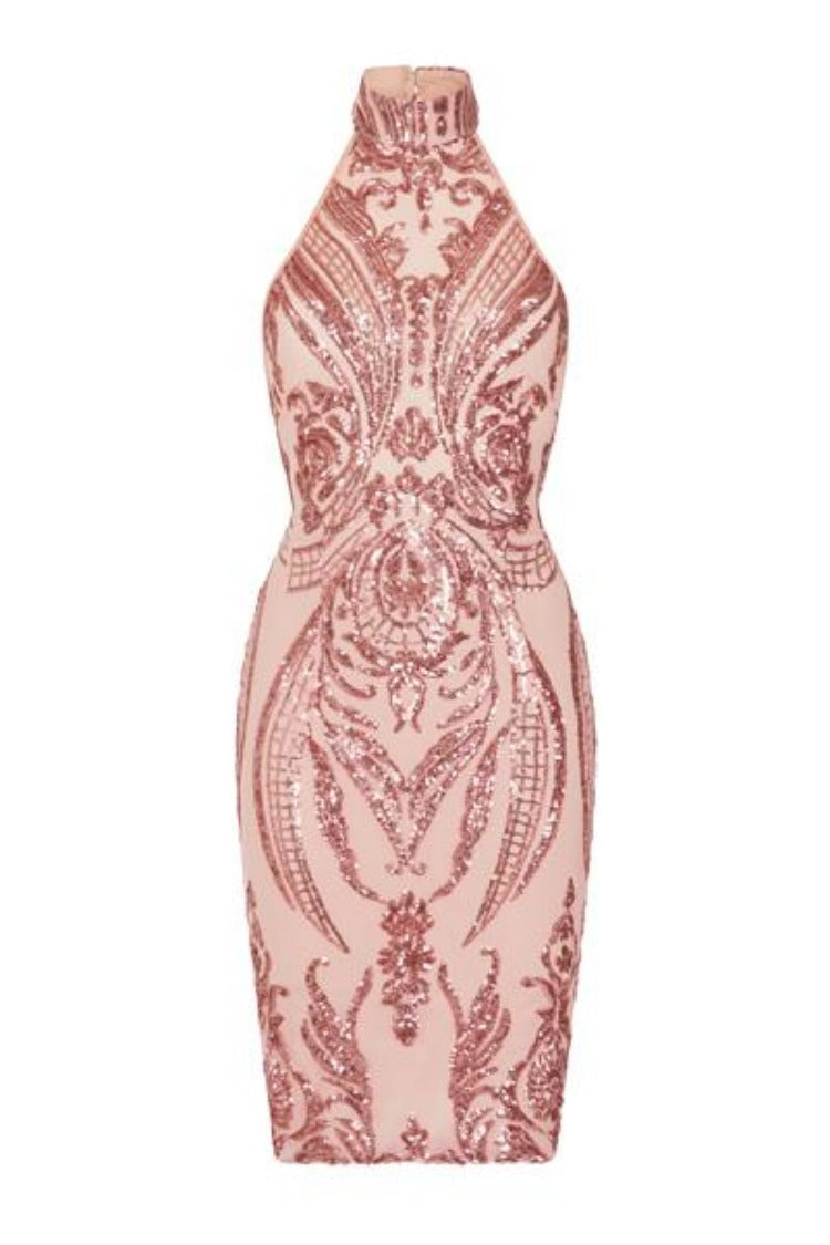 Bonita Pink Luxe Tribal Sequin Embellished Backless Midi Dress