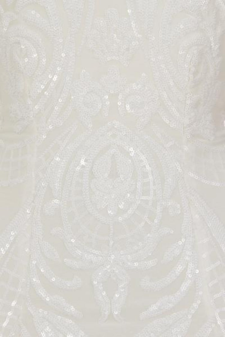 Bonita White Luxe Tribal Sequin Embellished Backless Midi Dress