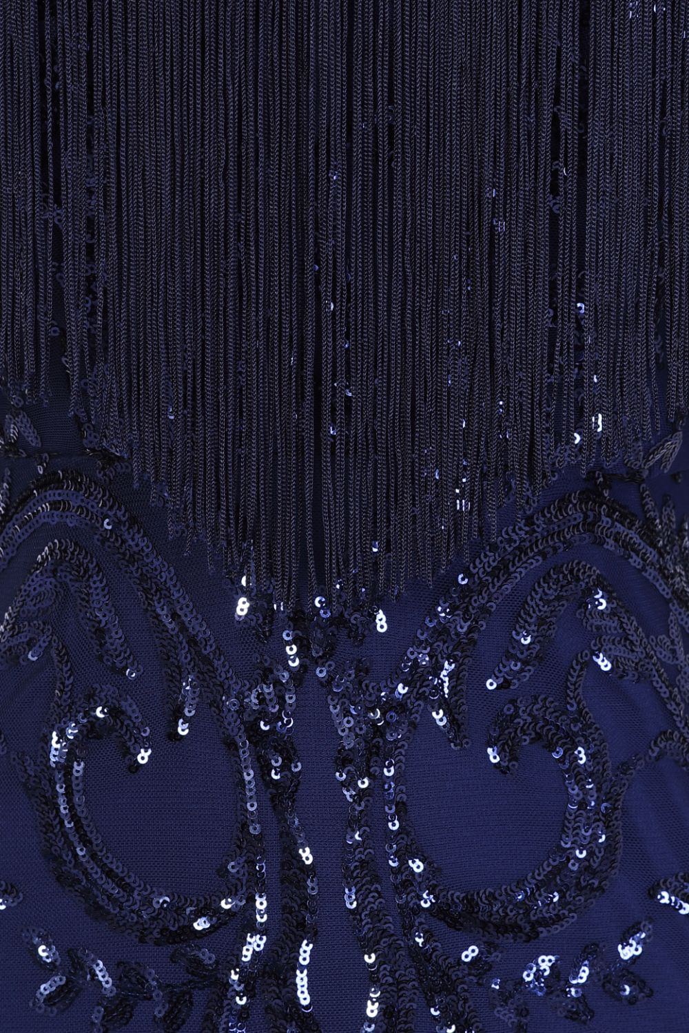 Runway Navy Luxe Sweetheart Tassel Fringe Sequin Fishtail Dress