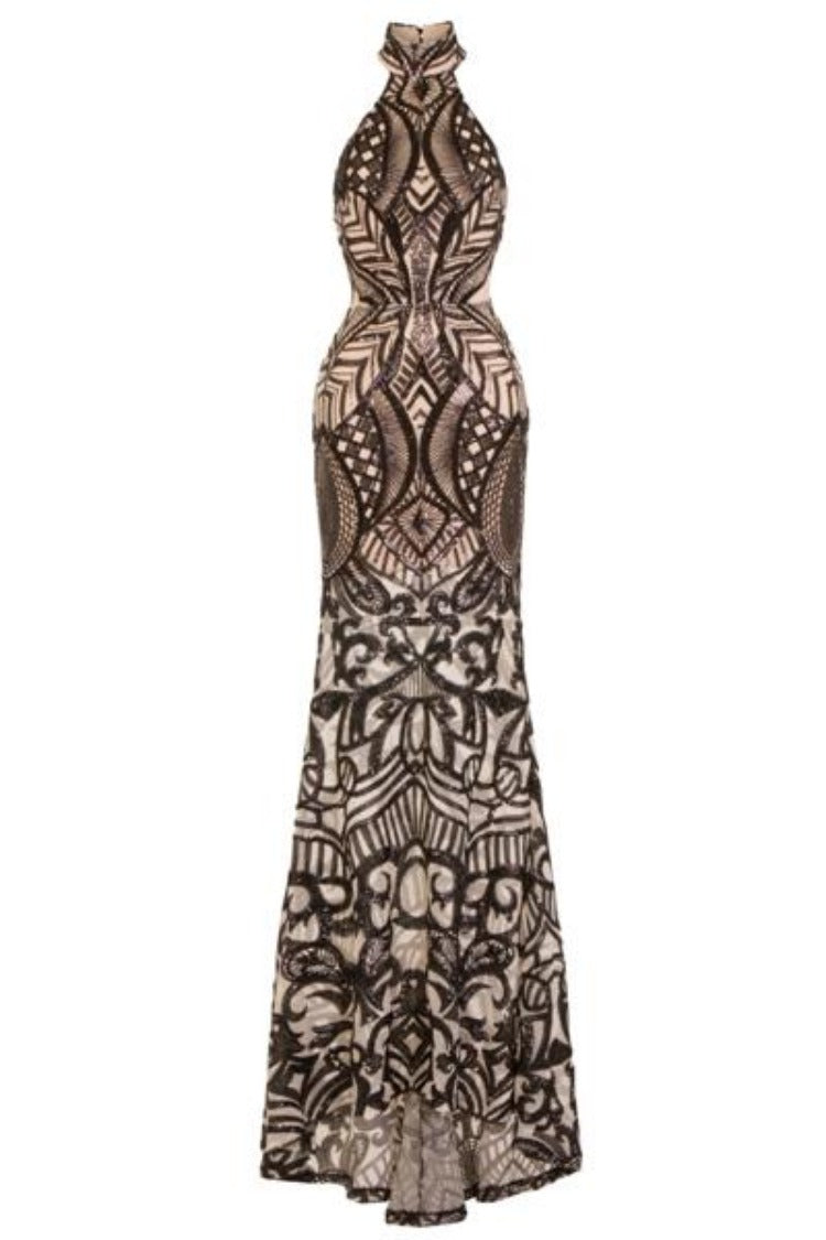 Envy Black Nude Vip Luxe Illusion Sequin Embellished Fishtail Dress