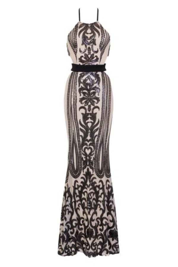 Ayisha Luxe Black Nude Victorian Sequin Illusion Exposed Maxi Dress