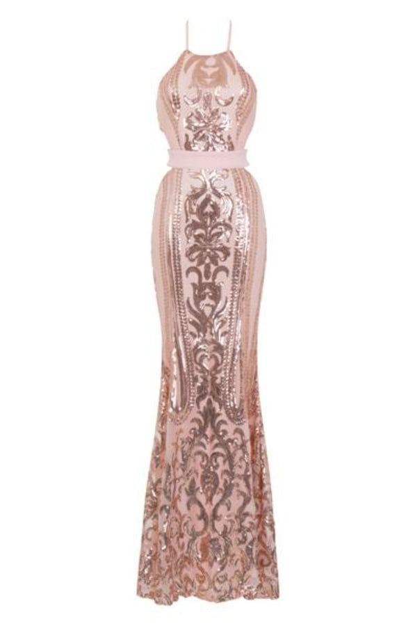 Ayisha Luxe Rose Gold Victorian Sequin Illusion Exposed Maxi Dress