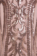 Lush Luxe Rose Gold Triple V Plunge Sequin Illusion Fishtail Maxi Dress