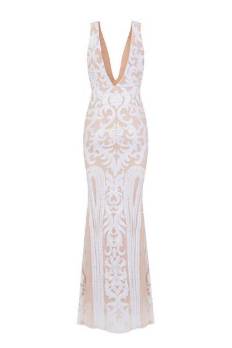 Lush Luxe White Nude Triple V Plunge Sequin Illusion Fishtail Maxi Dress