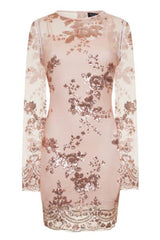 Flirt Nude & Rose Gold Batwing Floral Sequin Scalloped Kaftan Dress