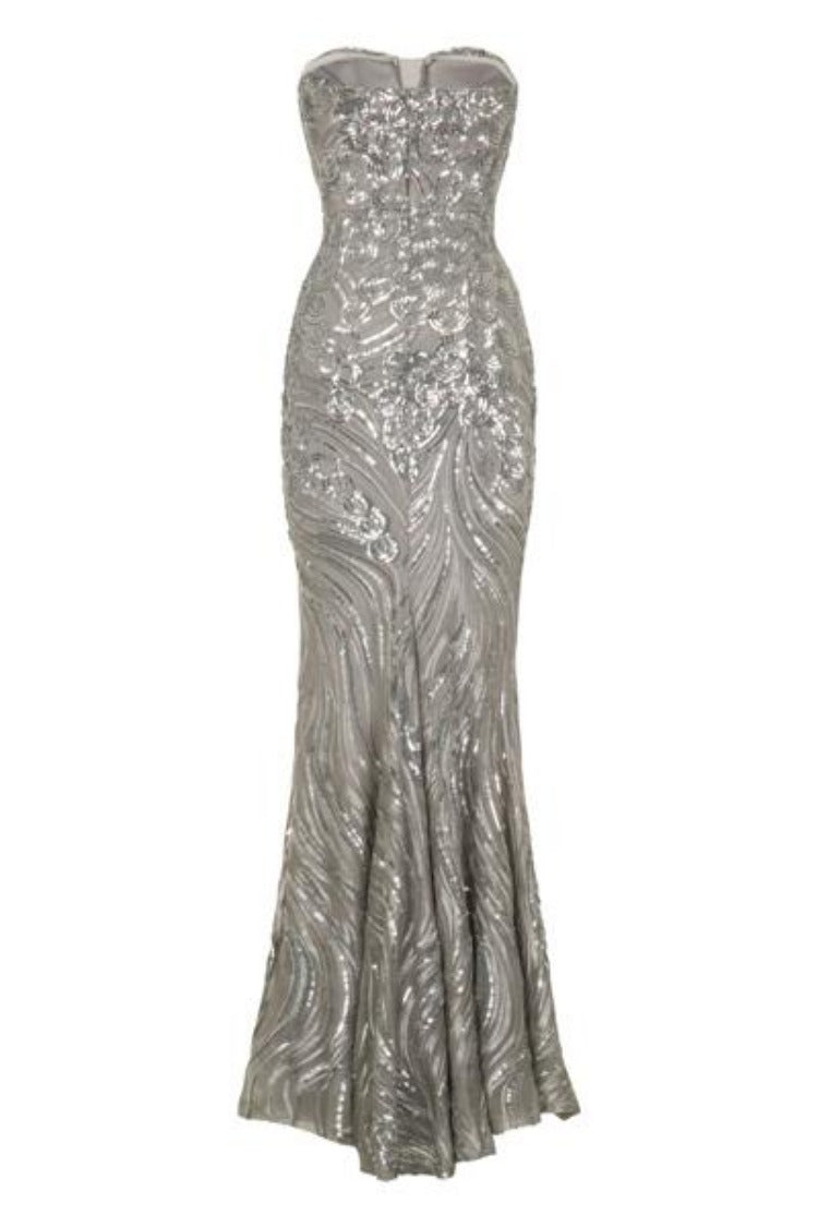Lavish Silver Luxe Sweetheart Mesh Plunge Petal Sequin Fishtail Dress