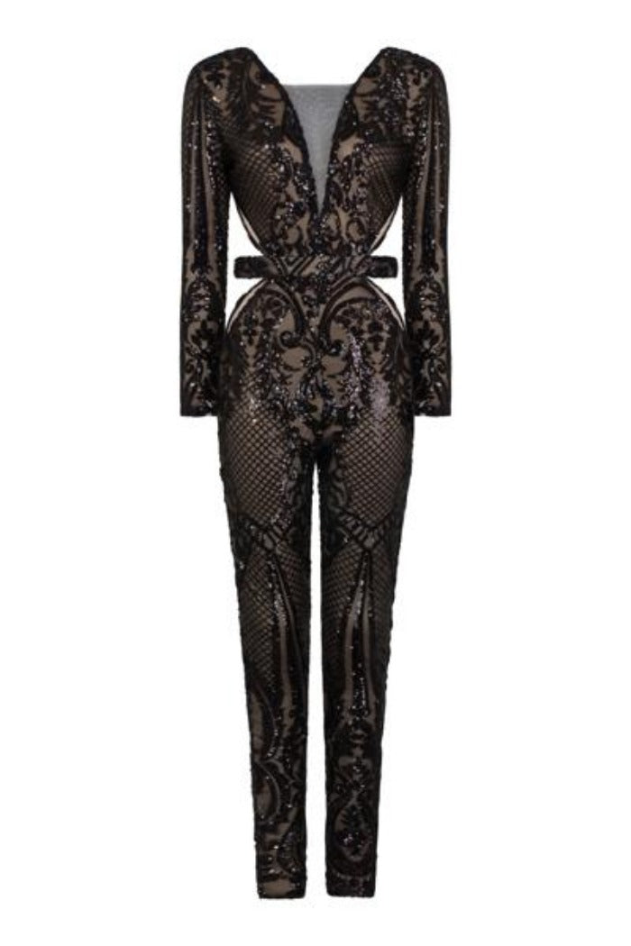 toxic nazz collection black sequin embellished cut out long sleeve jumpsuit romper