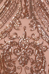 Paris Rose Gold Luxe Sequin Illusion Sweetheart Off Shoulder Dress