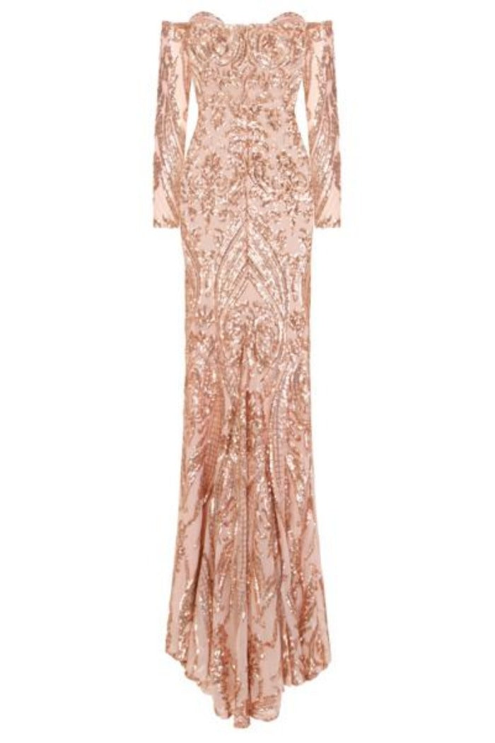 Rain Rose Gold Luxe Vip Sequin Sweetheart Off Shoulder Fishtail Dress