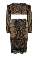 Lust Luxe Black Sequin Brocade Two Piece Skirt Top Co Ord Set