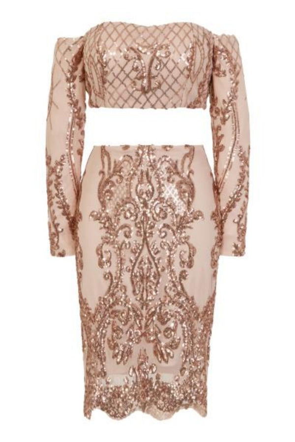 Lust Luxe Rose Gold Sequin Brocade Two Piece Skirt Top Co Ord Set