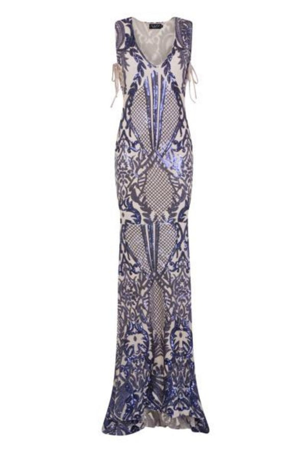 Glamazon Luxe Navy Nude Open Tie Side Tribal Sequin Fishtail Dress