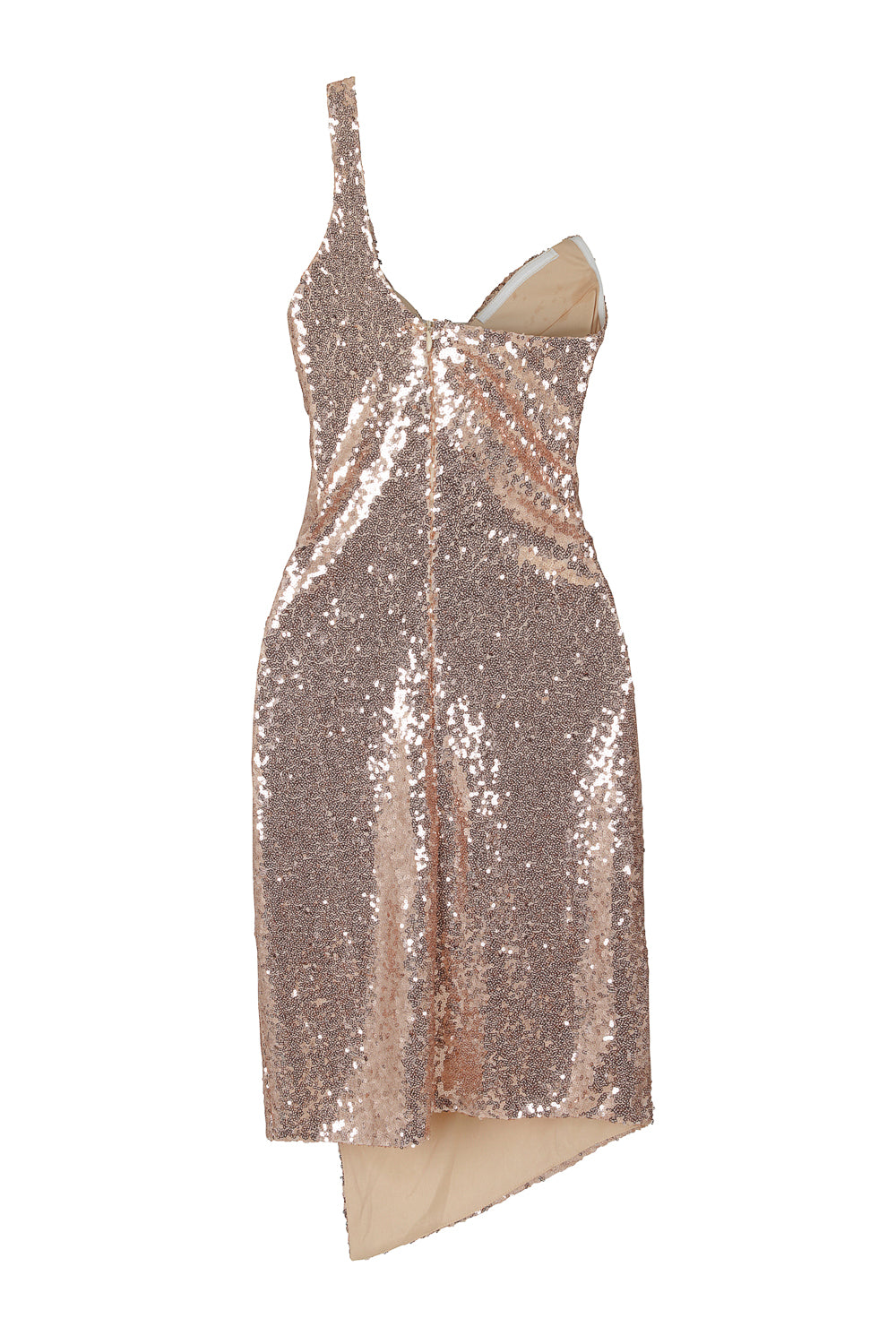 Rare Find Rose Gold Sequin Mesh One Shoulder Slit Dress