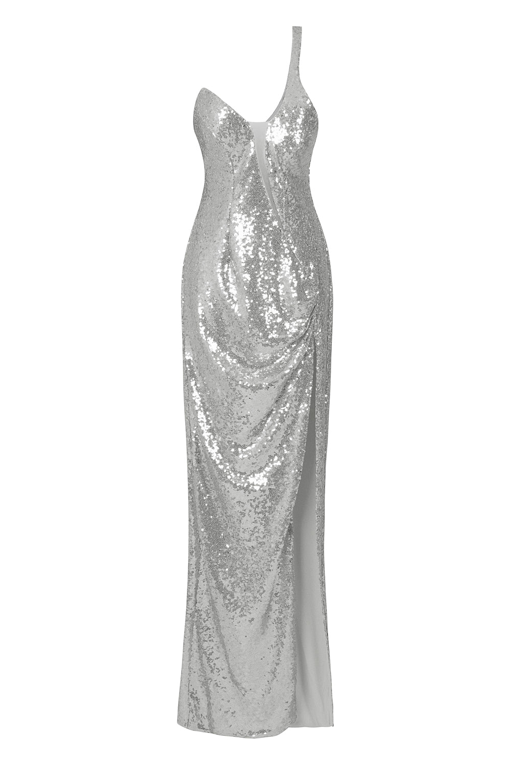 Shine On Me Silver Sequin Mesh One Shoulder Slit Maxi Dress