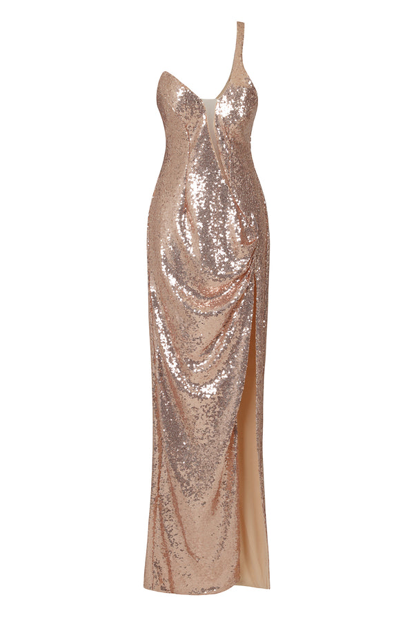Shine On Me Rose Gold Sequin Mesh One Shoulder Slit Maxi Dress
