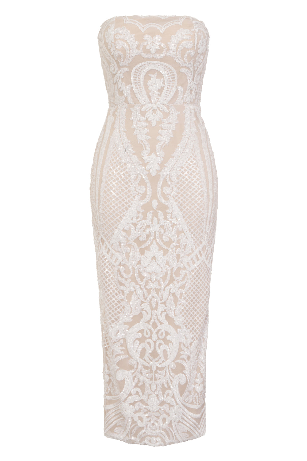 Vogue Luxe White Nude Strapless Sequin Illusion Midi Pencil Dress