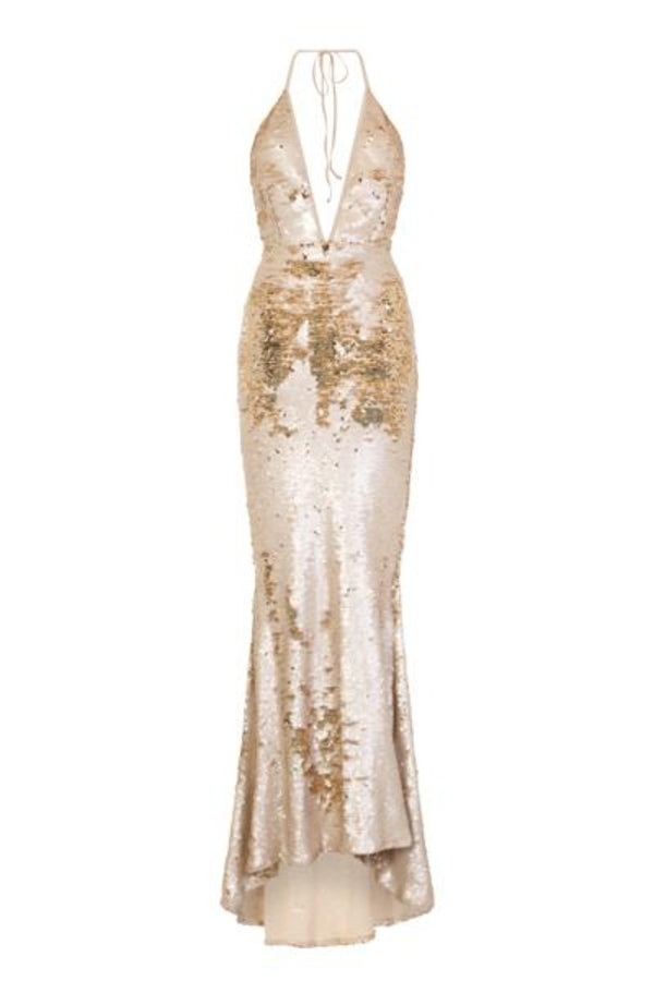 Cosmo Stone Gold Reversible Sequin Plunge Mermaid Fishtail Dress