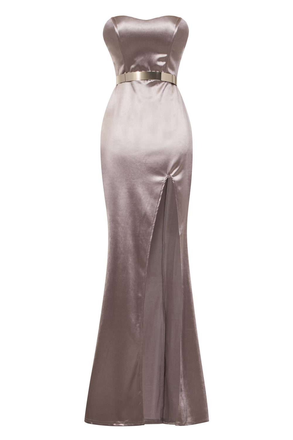 Versace Taupe Silver Belted Slinky Satin Thigh Slit Maxi Dress