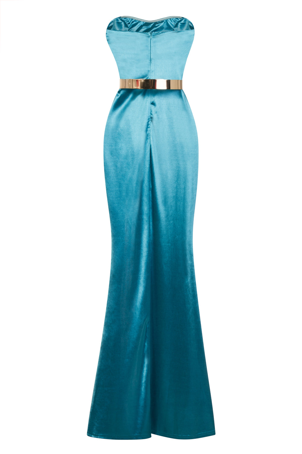 Versace Turquoise Gold Belted Slinky Satin Thigh Slit Maxi Dress