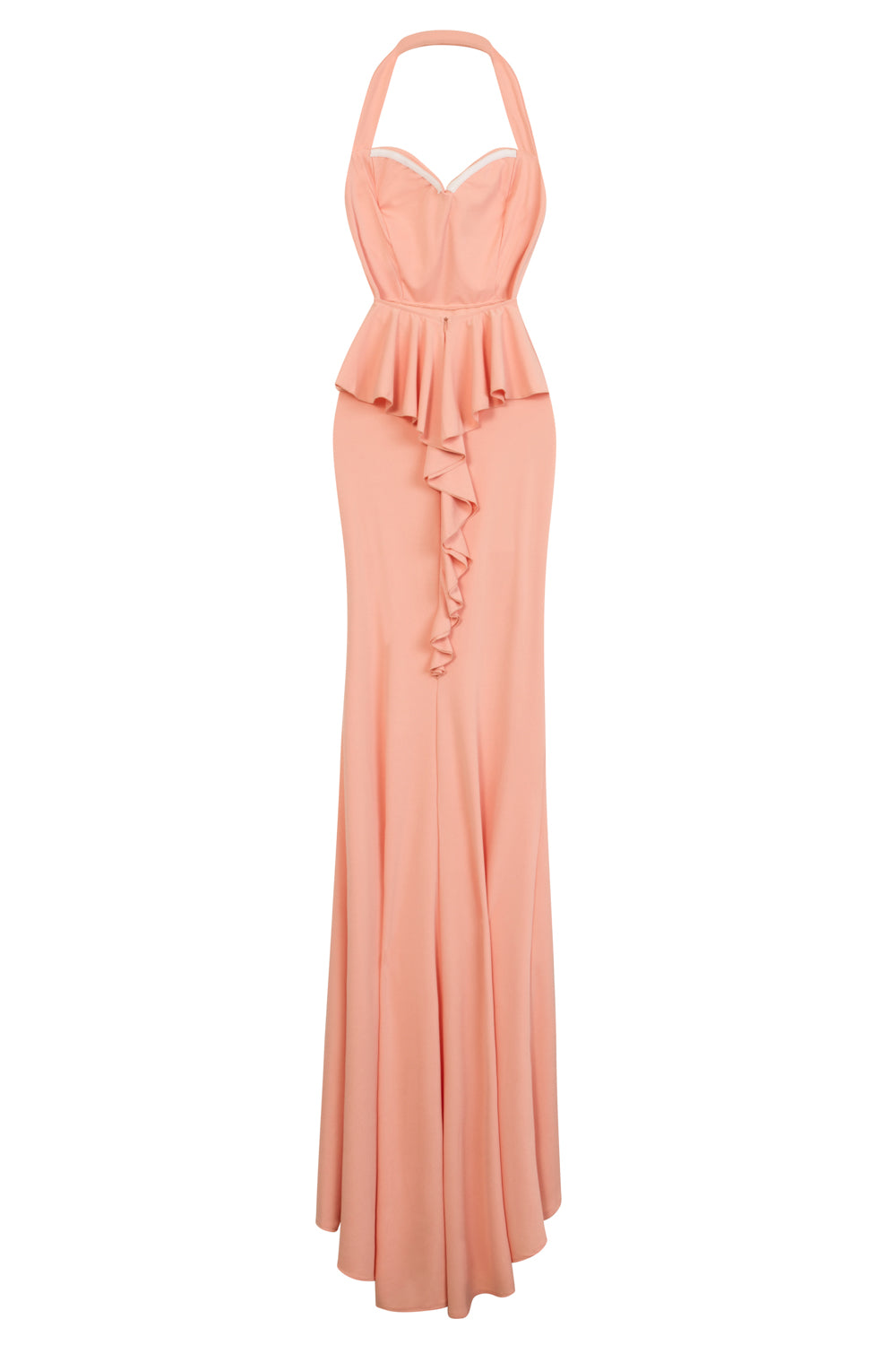 Dream Coral Sweetheart Backless Waterfall Frill Ruffle Fishtail Maxi Dress