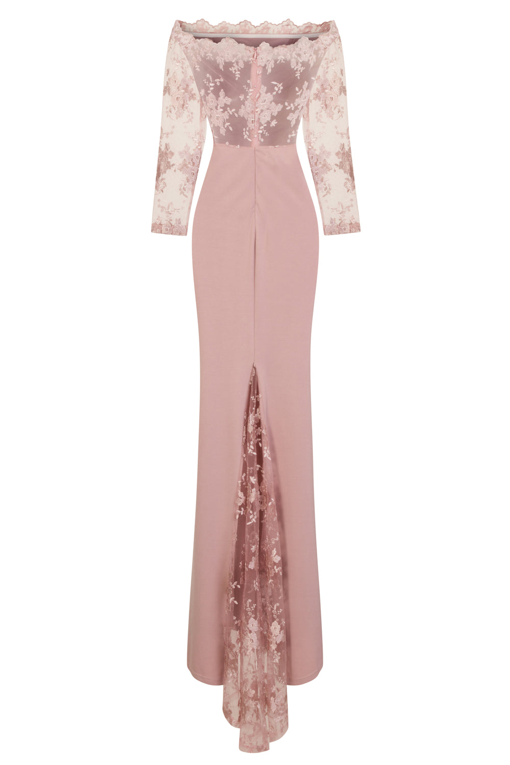 Meghan Mauve Off The Shoulder Bardot Lace Fishtail Maxi Dress