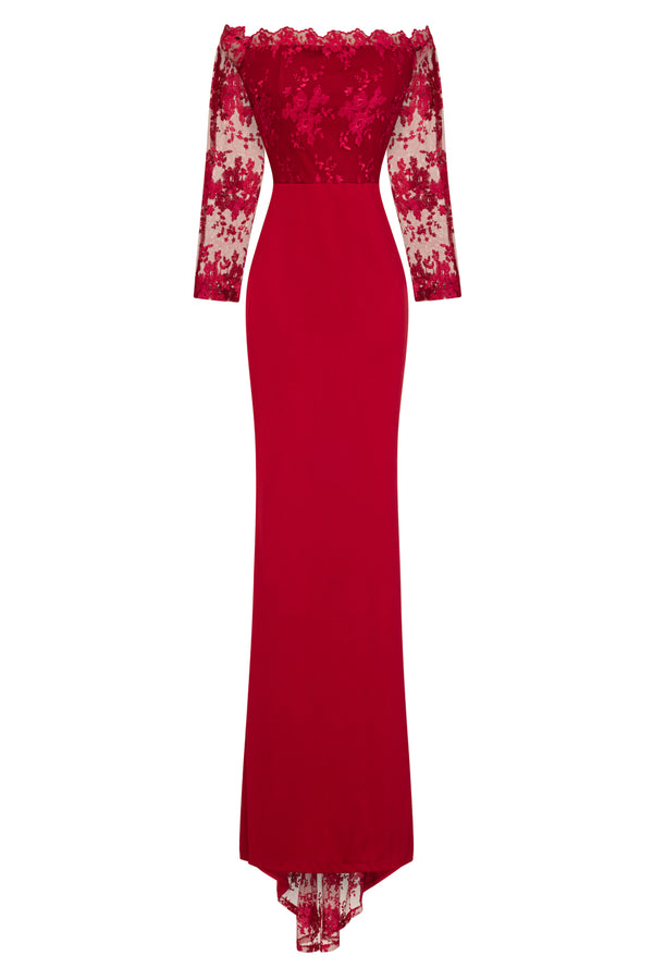 Meghan Berry Red Off The Shoulder Bardot Lace Fishtail Maxi Dress