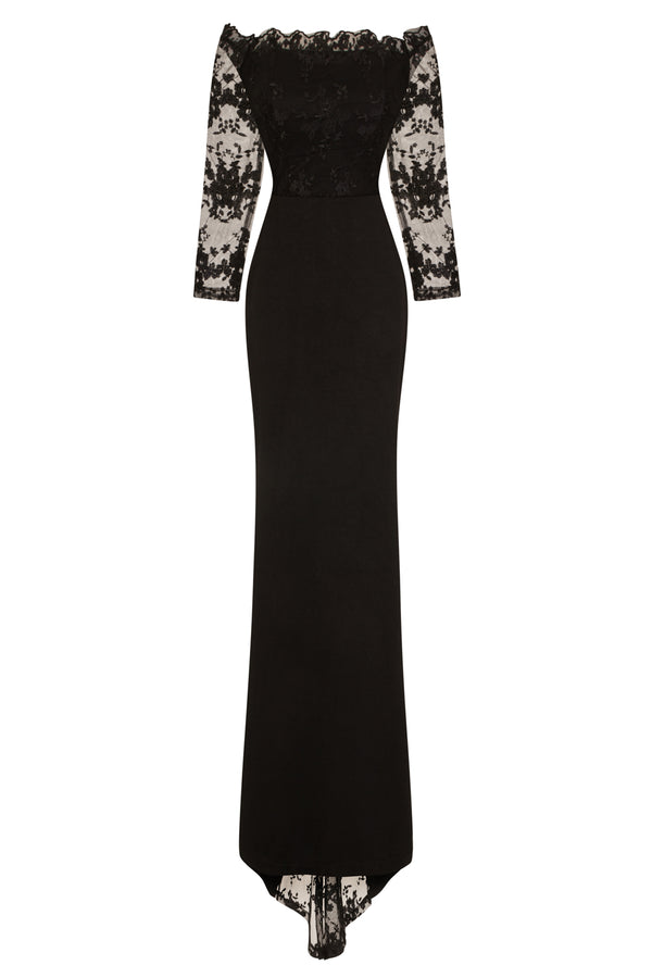 Meghan Black Off The Shoulder Bardot Lace Fishtail Maxi Dress