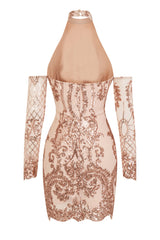 Icon Rose Gold Luxe Tribal Sequin Illusion Cold Shoulder Dress