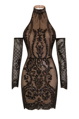 Icon Black Nude Luxe Tribal Sequin Illusion Cold Shoulder Dress