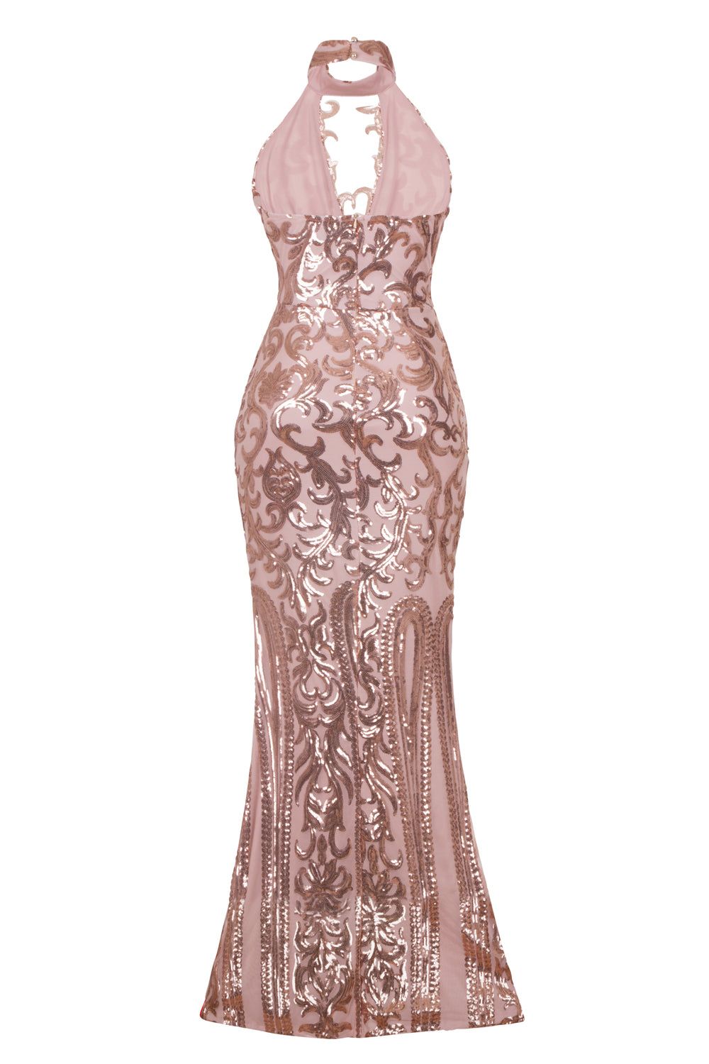 Majesty Luxe Rose Gold Keyhole Victorian Sequin Illusion Maxi Dress