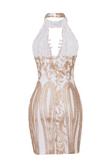 Kiki Luxe White Gold Keyhole Victorian Sequin Illusion Bodycon Dress