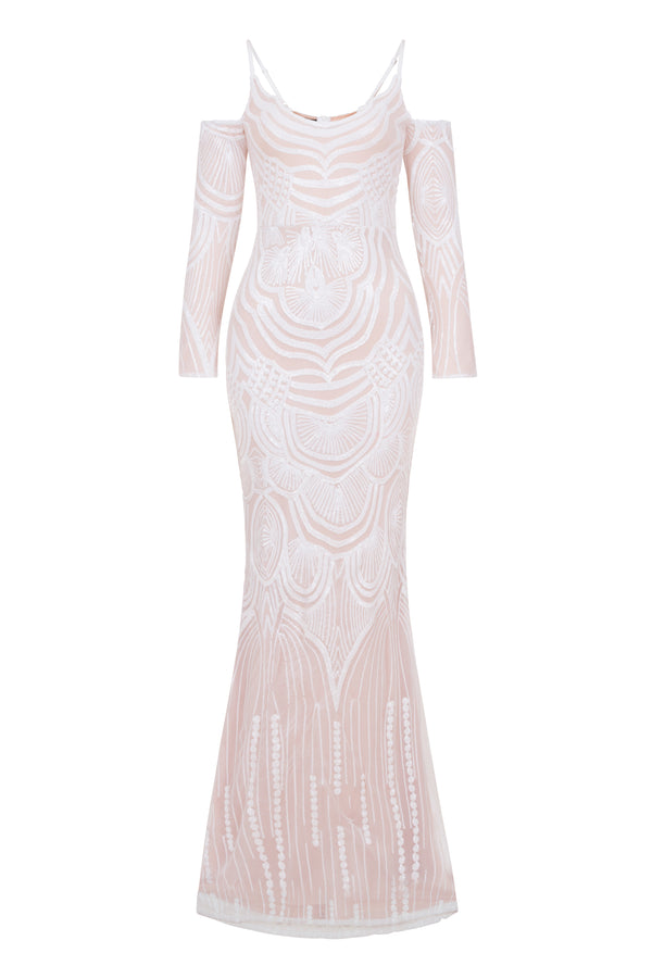 Vienna White Luxe Tribal Vip Illusion Sequin Mermaid Maxi Dress