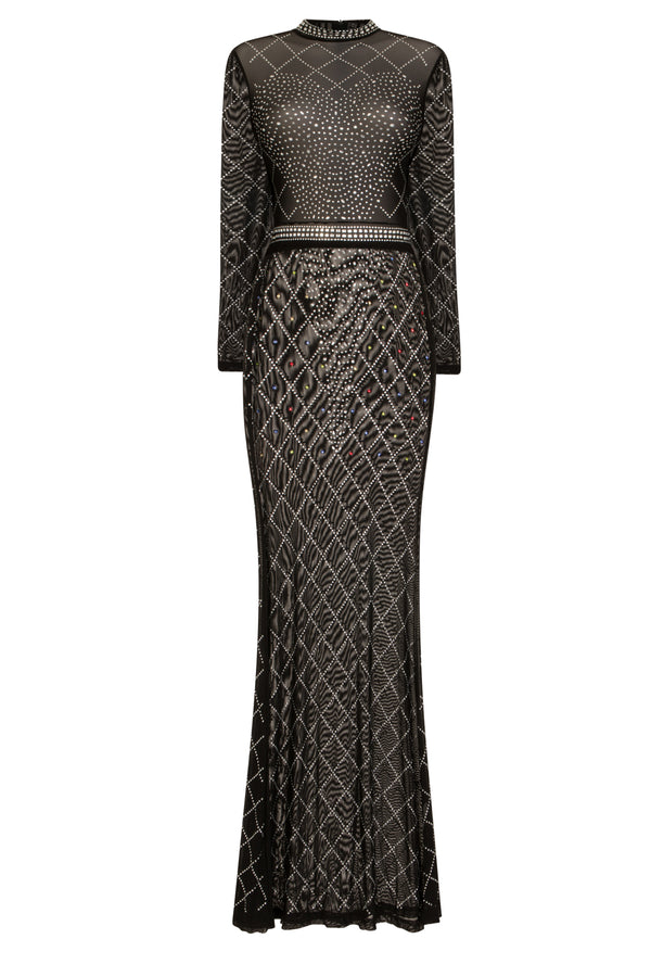 Sheer Dreams Black Crystal Rhinestone Mesh Transparent Maxi Dress