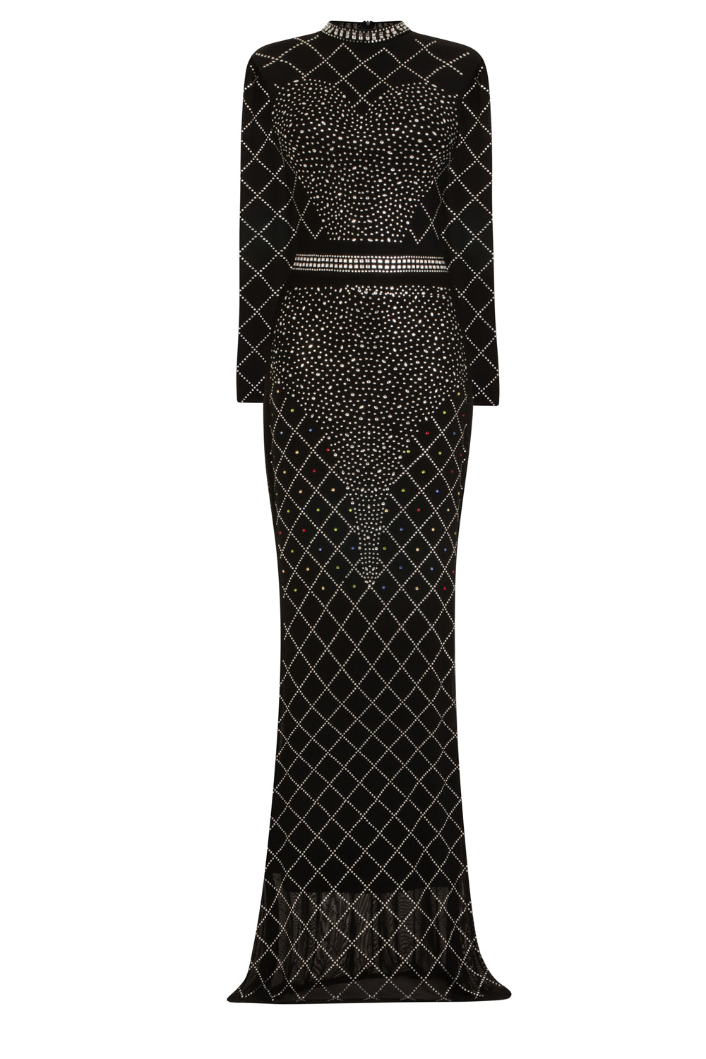Ice Queen Black Crystal Rhinestone Mesh Bodycon Mermaid Maxi Dress