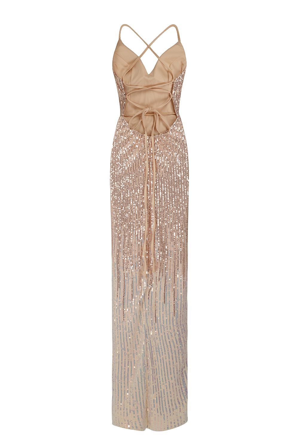 Tiara Rose Gold Silver Ombre Sequin Plunge Thigh Slit Fishtail Dress