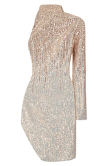Be Mine Rose Gold Silver Ombre Sequin Keyhole One Sleeve Dress
