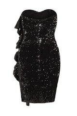 Ruffle Me Up Black Strapless Sequin Bodycon Dress